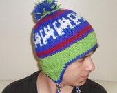 Knit Cat Hat - Hand Knit Womens Winter Beanie in Green - Purple - White - Red Ear flap hat - Cat Lover Gift idea
