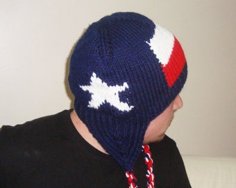 Hand Knit Texas Flag Hat with Ear Flap Hat Blue Red White for Mens or Womens Hat