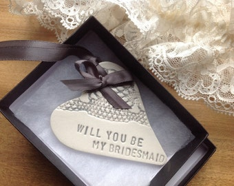will you be my bridesmaid ceramic heart silver wedding planning save the date keepsake