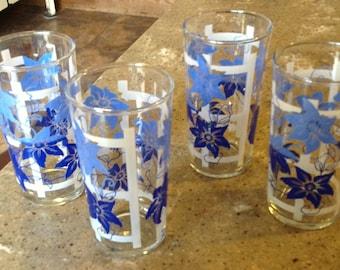 Vintage Blue Cobalt Swanky Swig Flower Trellis Glass Tumbler Set of 4