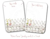 Custom Earring Cards - #0282 = Earring Display Cards -  Necklace Display Cards -  Tags - Bracelet Cards -  Cottage Chic Picket Fence