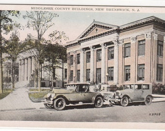 County Buildings Cars New Brunswick New Jersey 1920c postcard