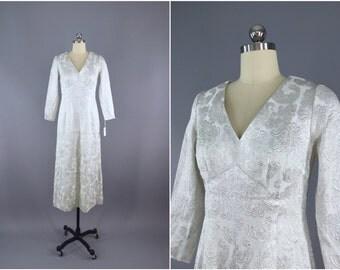 Vintage 1960s Dress / 60s Brocade Maxi Dress / 1960 Wedding Dress / Silver White Brocade Dress / Mad Men / Size Small S 4