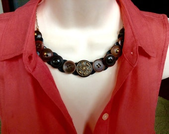 Astrological button necklace