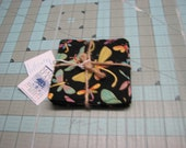 1 Set of 4 Dragonfly Coasters handmade Made in Maine black Background Carol's Country Crafts