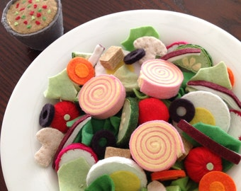 Felt Salad Play Food Pattern - Chef's Salad Set - DIY Felt Food PDF