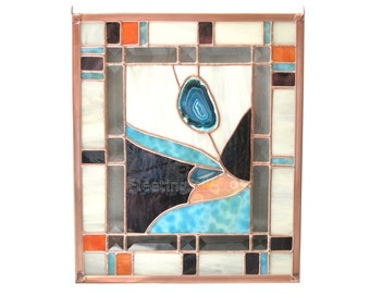 Desert Flower Agate Stained Glass Panel Teal Orange Purple Turquoise Flower Stained Glass