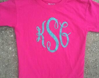 Youth Glitter Monogram shirt LONG or SHORT SLEEVE