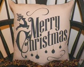 UNSTUFFED Primitive Pillow Merry Christmas Reindeer Country Rustic Home Decor Decorative Cover Holiday Seasonal Decoration wvluckygirl