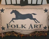 UNSTUFFED Primitive Pillow Folk Art Early Colonial Style Settler Pioneer Horse Checkerboard Country Rustic Home Decor Decoration wvluckygirl