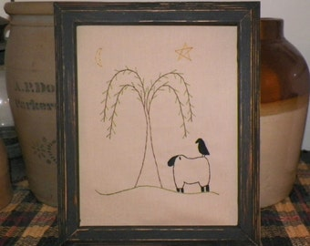 UNFRAMED Primitive Stitchery 8x10 Picture Country Sheep Crow Willow Tree Bedroom Decoration Home Decor Moon Stars Stitched Home wvluckygirl