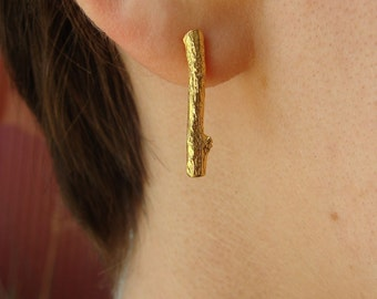 18K Vermeil Little Branch Posts -- Branch Earrings -- Nature Organic Jewelry -- Ready to Ship