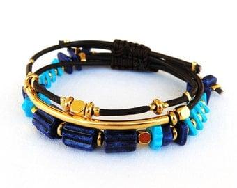 Set of 3 Leather Friendship Bracelets, Hippie Bracelet, Boho Bracelet, Greek Ceramic Beads, Metalic Beads, Adjustable