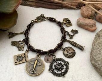 Just Travel Bracelet, Initial Bracelet, Gift Ideas, Best Friend Gift, Compass Bracelet, Travel Bracelet, Journey Bracelet