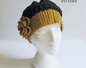 Crochet Beanie PATTERN, Hat with Flower, PDF PATTERN, Made in Canada