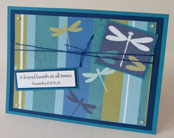 Dragonfly Friend Loveth At All Times Christian Friendship Card With Scripture