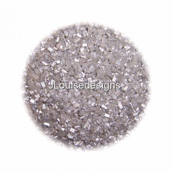 SILVER SUGAR CRYSTALS Edible Sprinkles Cake Confetti Cake Pop Cookie Decorations 2 oz.