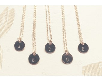 Hand Stamped Circle Initial Necklace - Gold Filled, Rose Gold, Sterling Silver