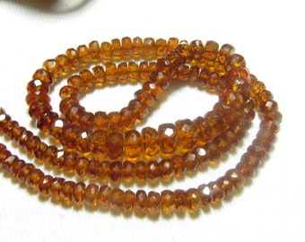 AAAA - High Quality Stunning - HESSONITE GARNET - Micro Cut Faceted Rondell Beads - 16 inches Long size - 3 - 6 - mm approx