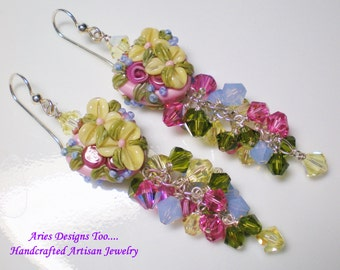 Heart Shaped Floral Lamwork Earrings in Pink, Yellow ,Blue & Green, Romantic Floral Earrings,Floral Heart Earrings