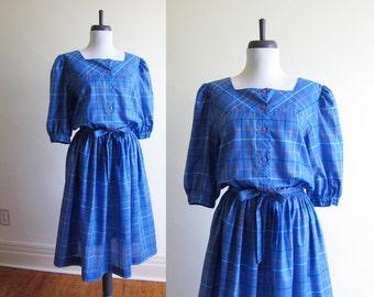 Vintage 1980s Dress / Blue Plaid Cotton Dress / Size Medium
