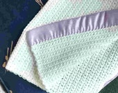 White Cotton Baby Blanket with Lavender Binding