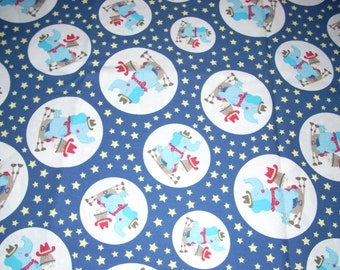 "Elephant and Horse - juvenile fabric -  Cotton fabric -  14"" wide - sold by the yard"