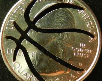 Basketball Quarter Hand Cut Coin Jewelry