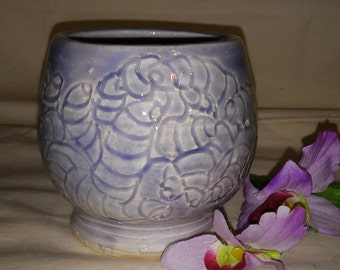 Hand Carved Ceramic Tea Bowl in Lavendar