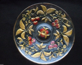 "Northwood Intaglio Cherry Eapg Goofus Glass 11"" Chop Plate Very Pretty Example!"