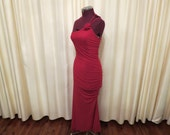 Vintage Gerry Shaw Red Figure Hugging One Shoulder Strap Semiformal Formal Long Cocktail Dress with Rose