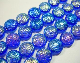 10 Lovely Czech Glass Button BEADS 14mm Cobalt Blue AB