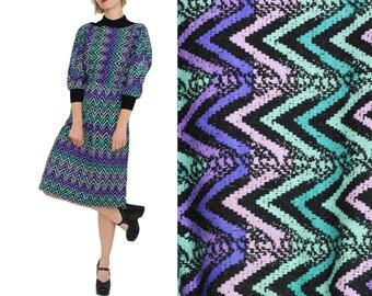 OP ART Chevron Dolman Sleeve Dress / S / Japanese Vintage Dress
