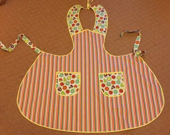 fruit and stripe apron