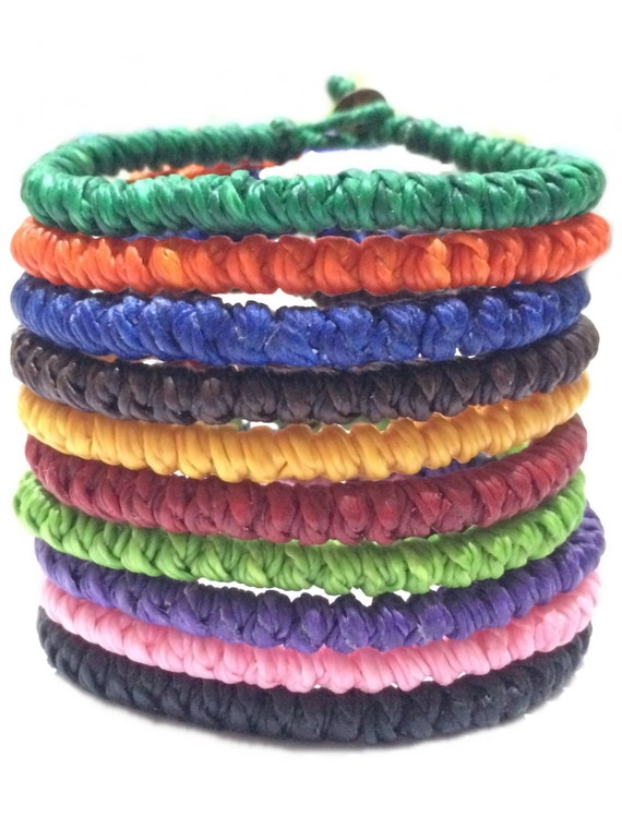 Knotted Waxed Cord Thai Buddhist Mens Cotton Bracelet Wristband Handcrafted Wristwear