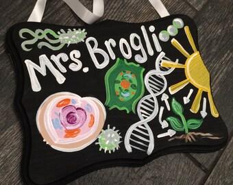 Biology Teacher  Sign - Teacher Door Sign Hanger - Chemistry Teacher Door Sign -  Science teacher sing - Earth Science teacher sign