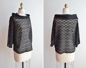 SALE / Vintage 1980s sheer boatneck blouse