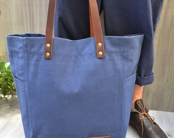 THOMPSON STREET Original design, Hand made, Mens Canvas Tote Bag, Blue cotton canvas, Medium weight canvas, Womens canvas tote bag