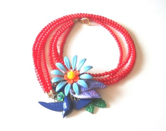Blue Bird Necklace, Boho Necklace, Enamel Necklace, Flower Necklace, Red Bead Necklace, Statement Necklace