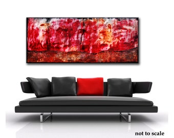 Abstract Red painting, red Abstract, Large red Painting, red art,Original Painting, 24x60 Heavy Textured, Free shipping, Custom painting