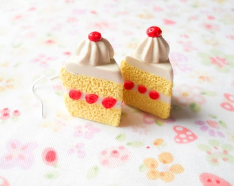 Strawberry Shortcake Earrings, Cake Earrings, Kawaii, Cute, Polymer Clay, Sweet Lolita, Cake Slice