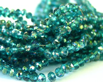 """15"""" Green 4mm x 3mm Half plated designer glass large rondelle Beads faceted crystal"""
