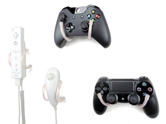 Wall Clip - Xbox, PlayStation, Wii, and Retro Game Controller Organizer - 4 Pack, Translucent