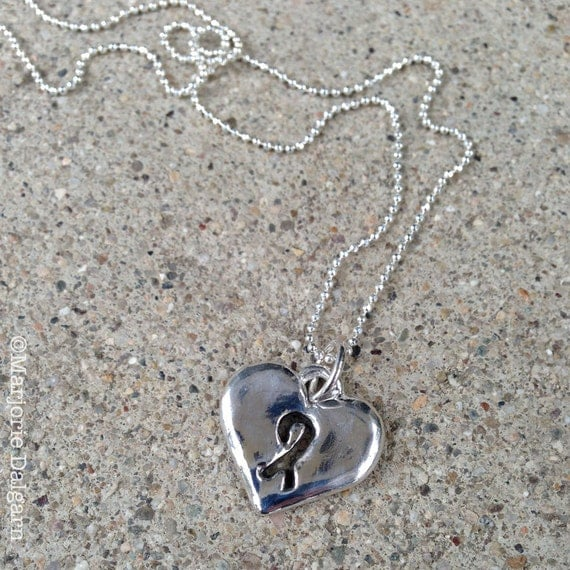 Close to My Heart with Awareness Ribbon Fine Silver Pendant with Sterling Silver Chain