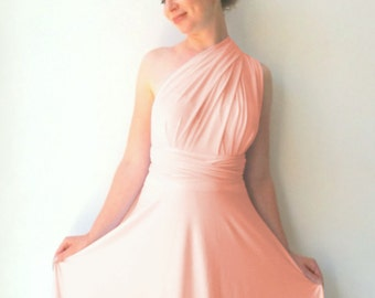 Convertible/Infinity Dress in color coral rose  with asymmetric hem cocktail-length dress Multiway Dress