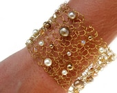 Gold Cuff Bracelet / Wire Knit Jewelry / Pearl Bracelet / Modern Chic Jewelry / Wire Mesh Arm Cuff / Gift for her / Beaded Wire Cuff