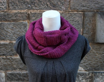 SCARF, KNITTED Cranberry infinity loop scarf, gift for her, scarf UK