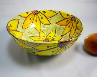 Ceramic Serving Pottery Bowl - Large Pottery Bowl - Yellow Sunflowers Flowers on Olive green- Majolica Bowl- Clay Bowl -  Kitchen Decor