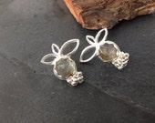 Sterling silver handmade golden rutilated quartz earrings with granulation, hallmarked in Edinburgh