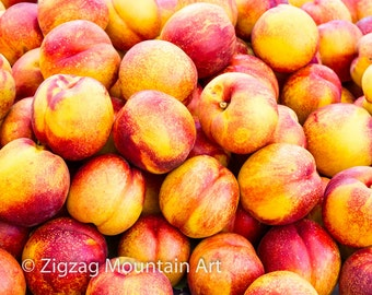 Nectarine art for kitchen.  Fruit wall art or kitchen wall art from food photography.  Fine art print for kitchen decor or wall art.